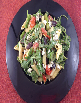 Penne with Roasted Asparagus, Cherry Tomato, Arugula and Goat Cheese Recipe
