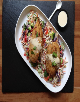 Rose Reisman Chicken with tahini sauce with slaw