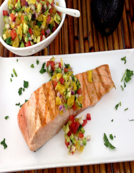 Rose Reisman Salmon with Avocado and Orange Salsa
