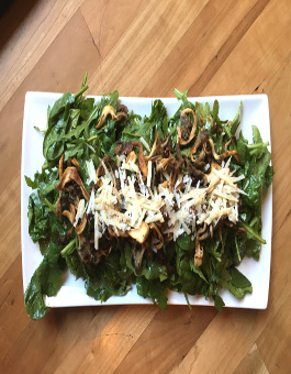 Warm Arugula and Spinach Salad