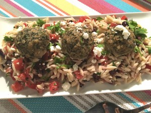 Rush Hour Meals - BT - Greek Meatballs over orzo