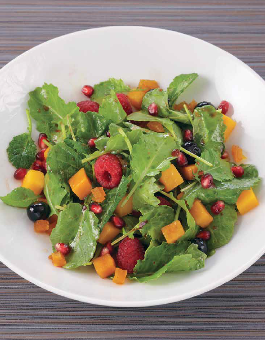 Baby Kale, Butternut Squash and Pomegrante Salad