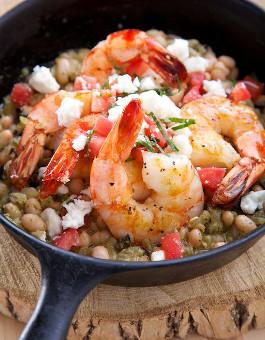 Shrimp with White Beans, Lemon and Pesto