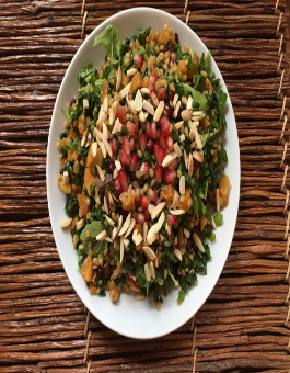 Kale and Farro Salad with Roasted Butternut Squash and Pomegranate Balsamic Dressing