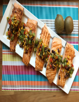 Rose Reisman Salmon with Kiwi Salsa