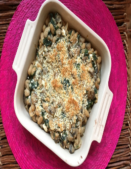 Mushroom and White Bean Gratin
