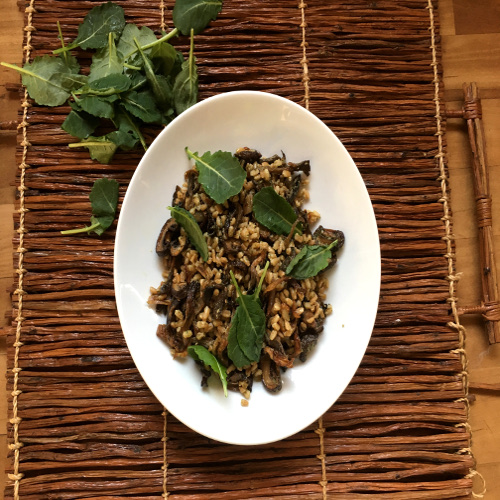 Farro with Spinach and Roasted Mushrooms Recipe