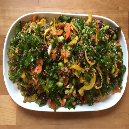 Kale and Spiralized Yellow Beet and Carrot Salad with Edamame and Balsamic Creamy Dressing Recipe