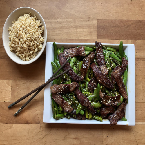 Steak, asparagus and sugar snap pea stir-fry