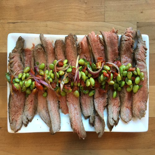 Healthy Flank Steak with Edamame and Sundried Tomato Salsa Rose Reisman Recipe