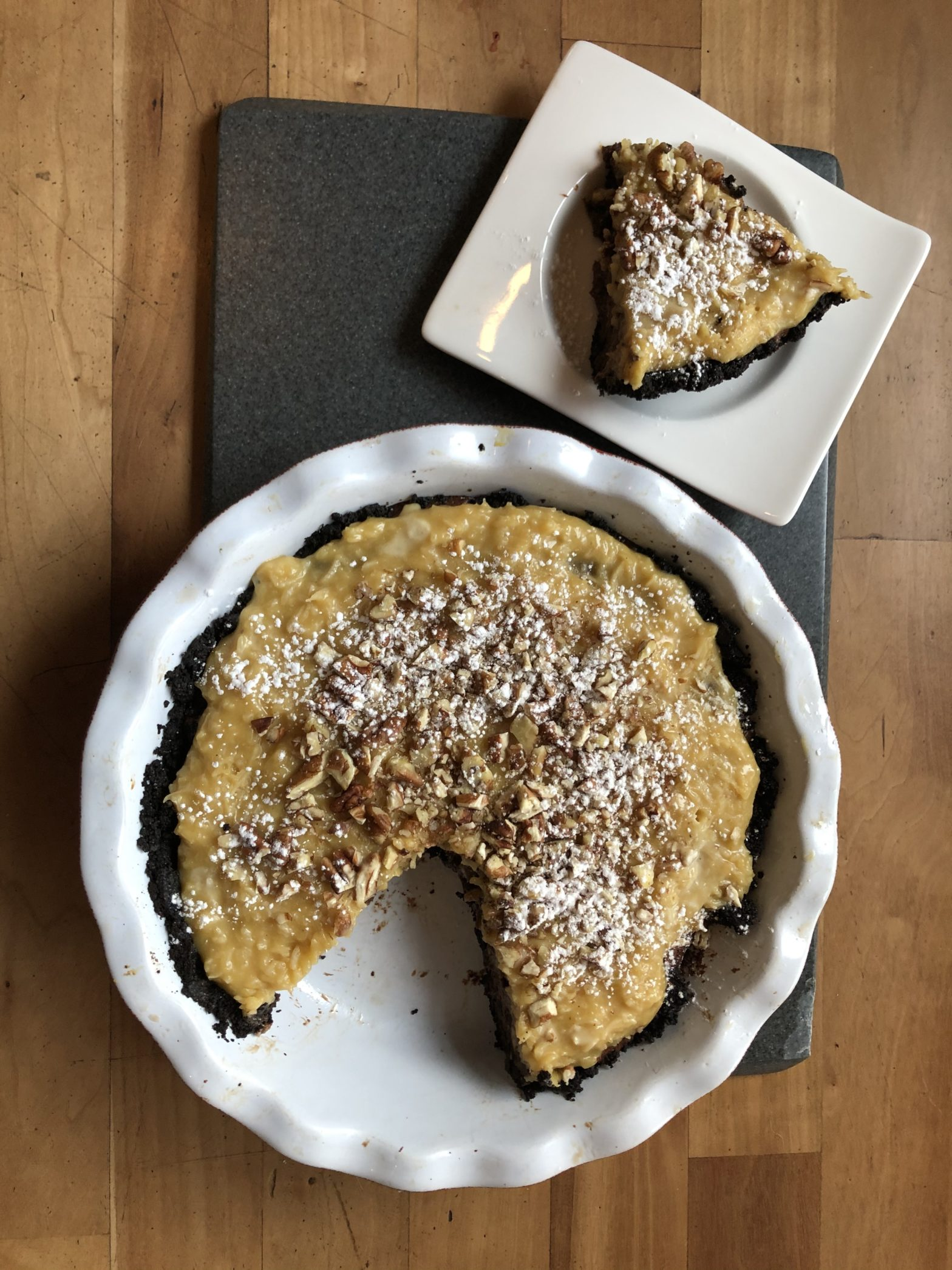 Chocolate Pie with Pecans and Coconut