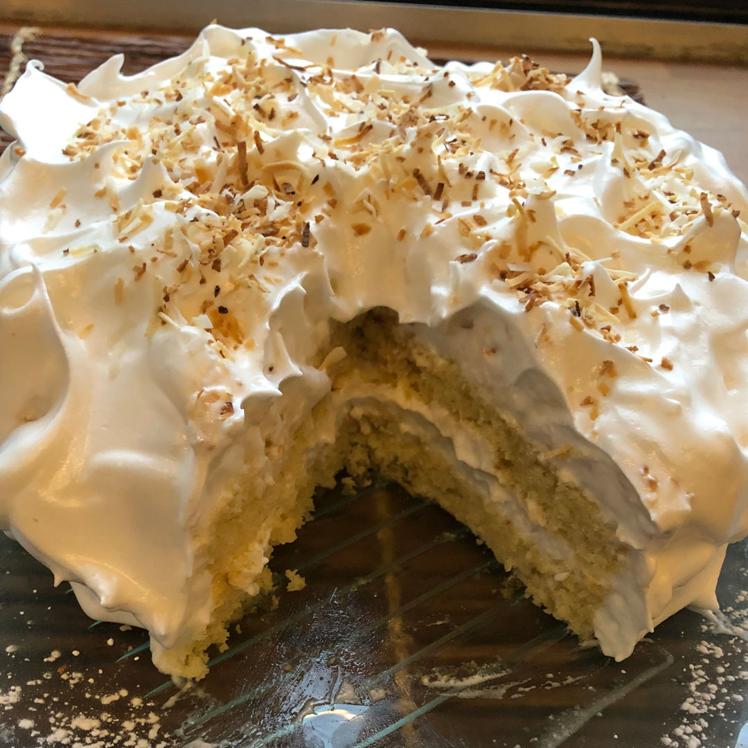 Coconut Layer Cake with Italian Meringue Icing
