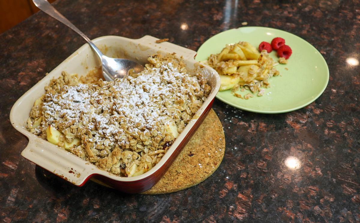Apple Crisp with Dried Cranberries and Toasted Almonds