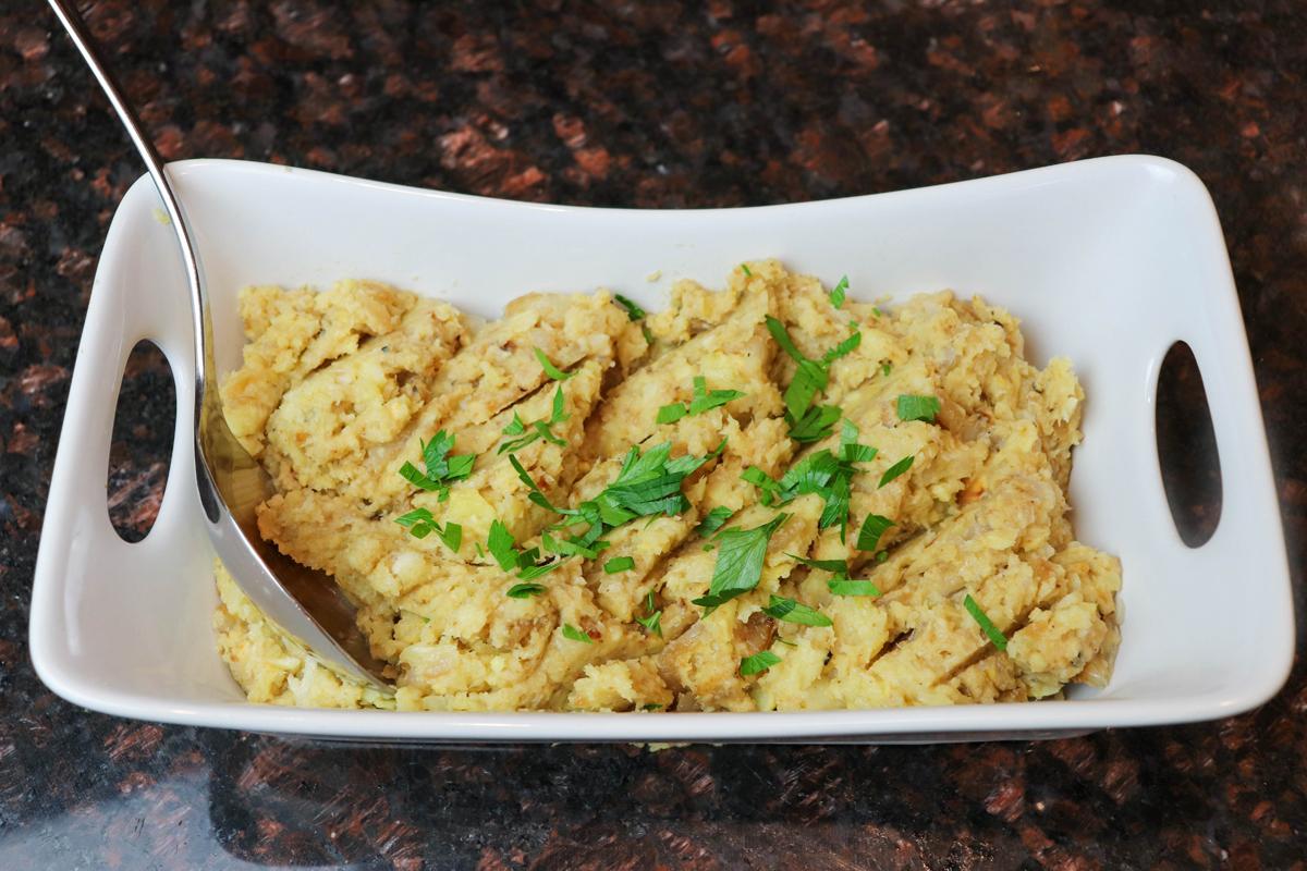 Roasted Parsnip, Roasted Garlic and Caramelized Onion Mash
