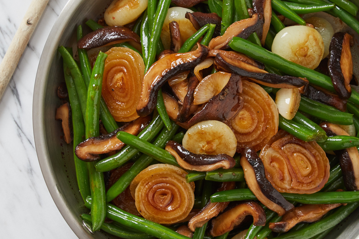 Asian Green Beans with Wild Mushrooms and Cipollini Onions
