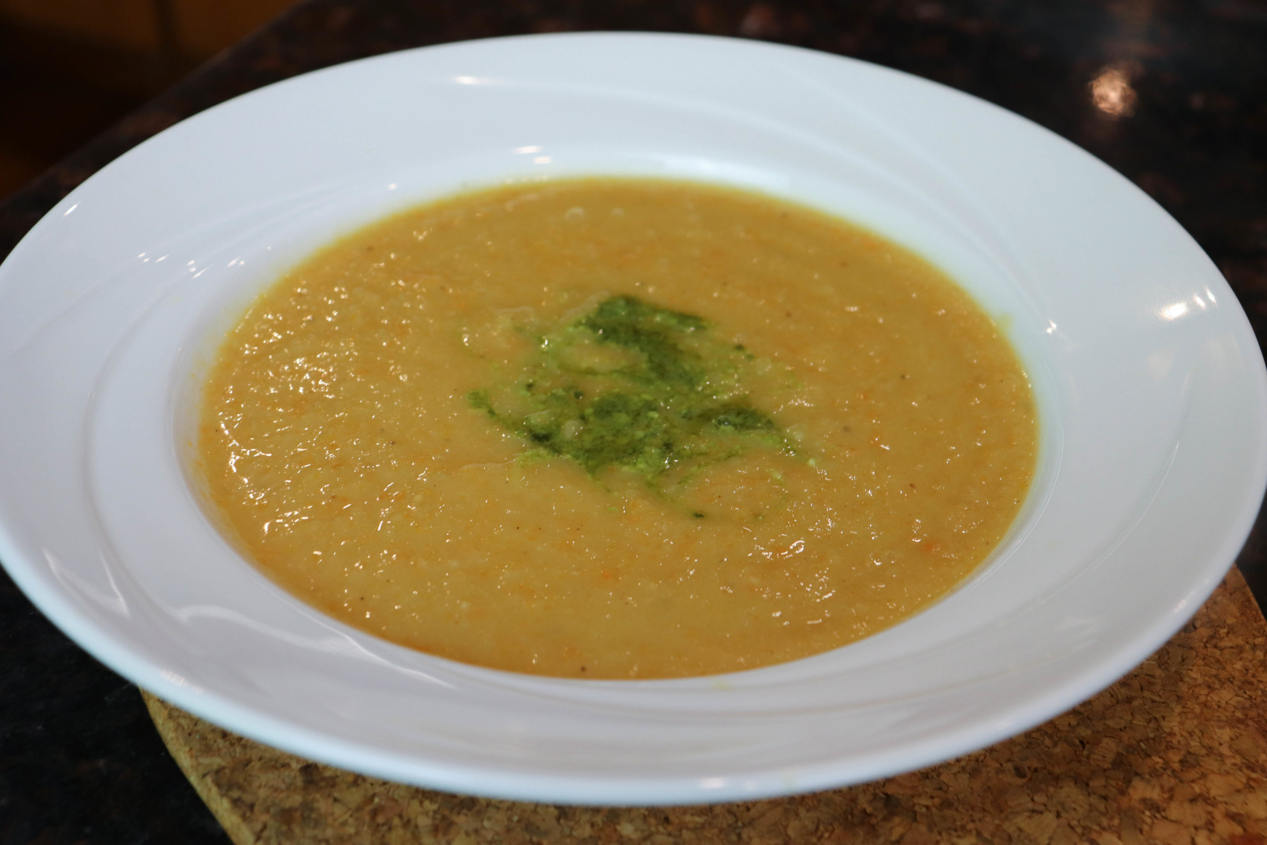 Roasted Parsnip carrot soup with pesto swirl
