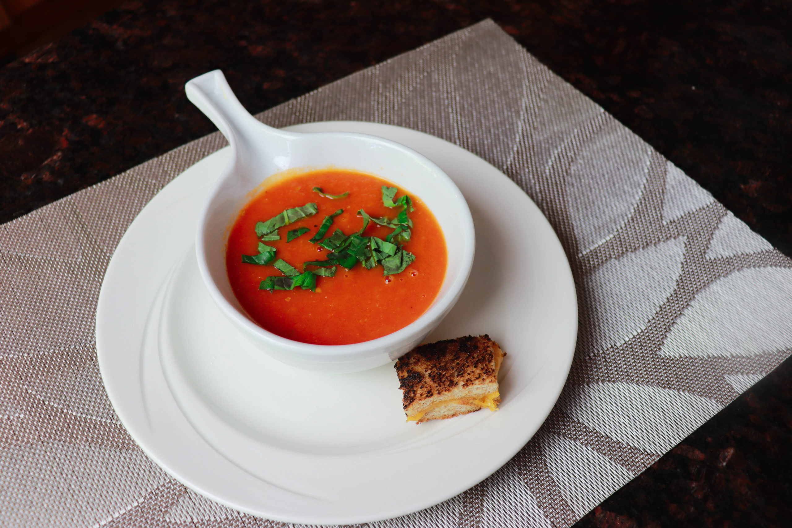 Fresh plum tomato soup with grilled cheese croutons