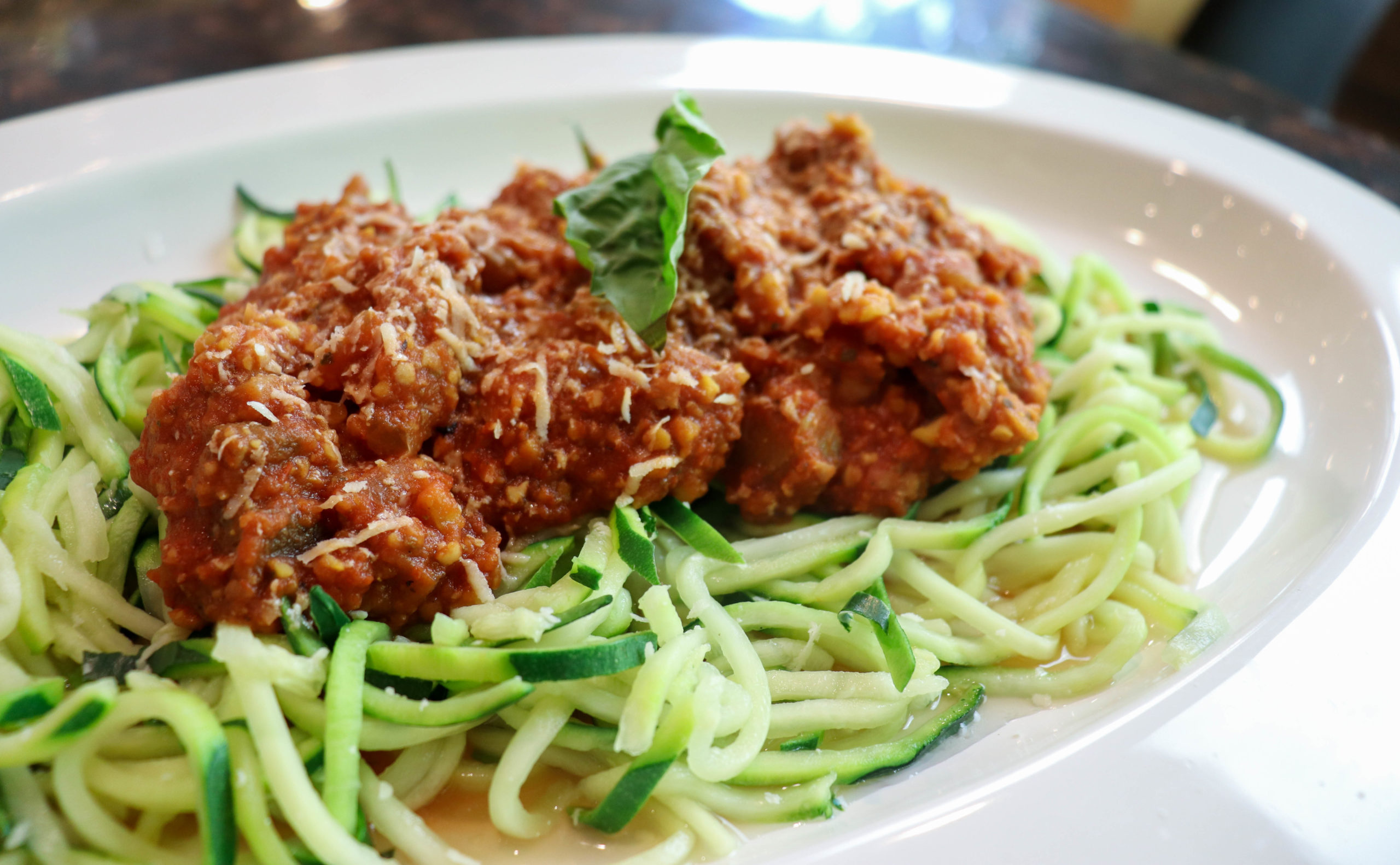 Eggplant and chickpea Bolognese over zucchini noodles