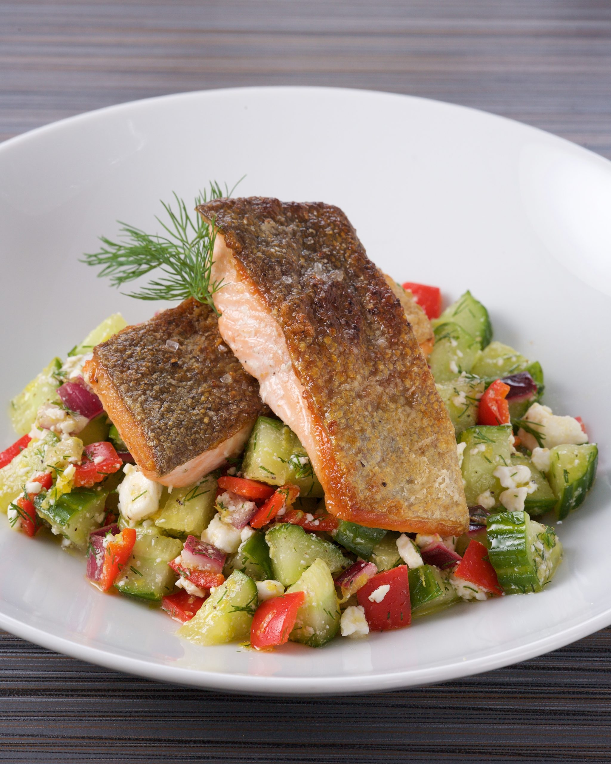 Crispy Salmon with Cucumber Relish